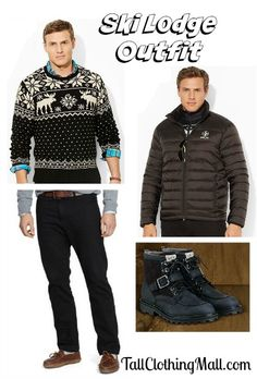 big and tall ski lodge outfit - Tall Clothing Mall Big Men Fashion, Women's Fashion, Big And Tall Outfits, Clothing For Tall Women, Snow Skiing, Great Women, Ski Outfits, Men Sweater, Winter Jackets
