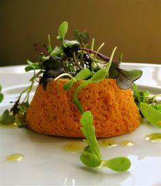 carrot flan with microgreens and lemon vinaigrette