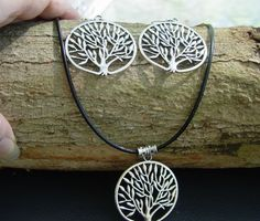 TREE OF LIFE LARGE 39 mm NECKLACE & EARRING SET Wicca Witch Pagan Goth Druid
