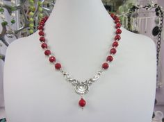 Faceted Red Bamboo Coral With A Sterling Silver by JKCustomDesigns