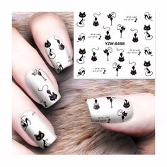 [Visit to Buy] ZKO 1 Sheet Cute Cat Pattern Water Nail Decals Nail Art Stickers Tips Decal Nail Sticker 8498 #Advertisement