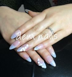 Blue glitter acrylic nail with 3D