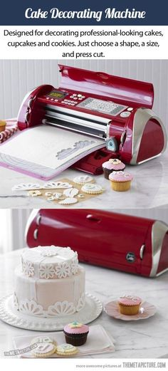 Funny pictures about A printer for cakes. Oh, and cool pics about A printer for cakes. Also, A printer for cakes. Cake Decorating Designs, Cake Decorating Supplies, Cake Decorating Techniques, Baking Supplies, Cake Designs, Food Decorating, Cricut Cake, Cake Icing, Eat Cake