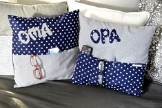 💕 💫 💕 💫 ***no more long searches for the glasses, a pen or the remote control . the bags hold a perfect first order*** the Kissenhllen are in dark blue/grey to fit every. Cushion Covers, Pillow Covers, Crochet Ball, Dark Blue Grey, Idee Diy, I Cool, Christmas Knitting, Christening, Personalized Gifts