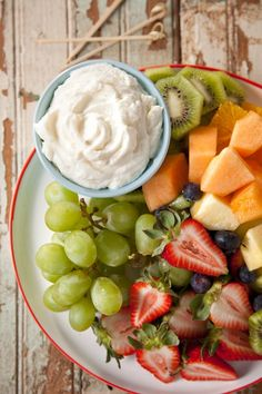 Fruit Tray with Fruit Dip. This fruit dip is INSANELY good and I put it on a lot of other things.