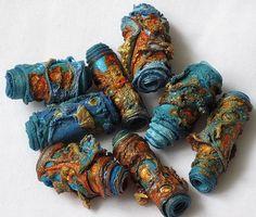 Mixed media textile art beads hand made by CAROLYNSAXBYTEXTILES