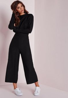 Perfect Work Outfits for Office Women Ideas Awesome Missguided Long Sleeve Ribbed Culotte Jumpsuit Black Winter Office Outfit, Office Outfits, Casual Outfits, Sweater Outfits, Mode Outfits, Fashion Outfits, Womens Fashion, Fashion Fall, Fashion Ideas