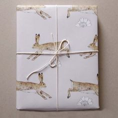Leaping Hares wrapping paper available at Cotes Mill, deVOL
