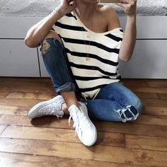 Audrey Lombard Stripe style avec le top Margaux Lonnberg ;)