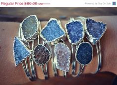 HALLOWEEN+SALE+Lux+Divine+Druzy+Stackable+Silver+by+luxdivine,+$48.00 etsy.com