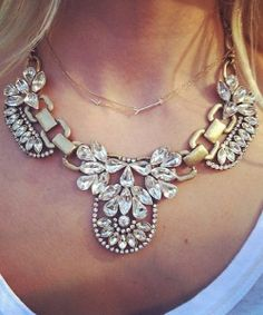 Crystal Bib Statement Necklace with antique gold #opaquelion $18