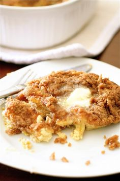 Baked Cinnamon French Toast--heavy cream sourdough bread, butter, cinnamon--shall I continue? Be still my taste buds!