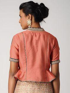 Orange Hand-embroidered Silk Cotton Blouse with Gota Peplum Blouse, Saree Blouse, Blouse Styles, Blouse Designs, Indian Designer Wear, Embroidered Silk, Cotton Blouses, Cropped Tops, Orange