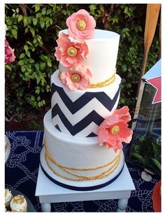 Navy, gold, and coral nautical wedding cake