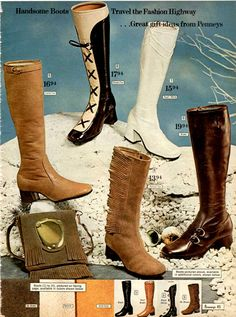 Vintage boots for women from a 1970 catalog. Found on www.retrowaste.com/1970s/fashion-in-the-1970s/