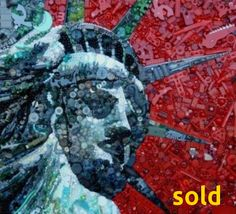 """""""Statue of Liberty:  Made in China"""" - found objects art by Jane Perkins;  32.5"""" x 29.5"""""""