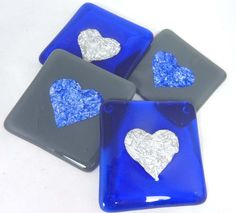 Fused Glass Coasters Slate Grey and Sapphire Blue with Valentine Hearts - set of four