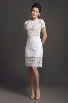 Casual Dresses for Classy Day-Time Style Little White Dresses, Lovely Dresses, Simple Dresses, Casual Dresses, Short Dresses, Dresses For Work, Chic Dress, Classy Dress, Lace Dress