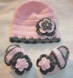 Baby Girl Crocheted Hat & Booties