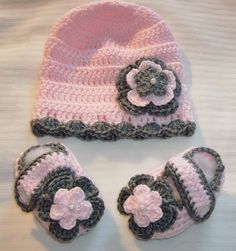 Baby Girl Crocheted Hat & Booties