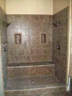 double shower heads with a seat