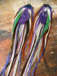 Purple Bohemian Feather Earrings by BirdCrap on Etsy, $48.00