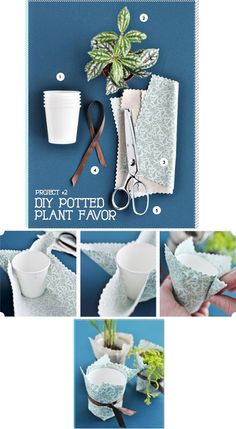 For your guests on the next holiday  DIY - Potted Plant Favors - Simple craft idea.Full Step-by-Step Tutorial. Project found on Page 152 of Utterly Engaged Online Magazine.