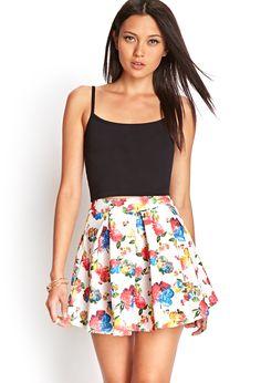 Pleated Floral Skater Skirt   FOREVER21 #SummerForever