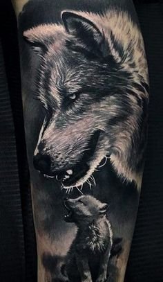50 Of The Most Beautiful Wolf Tattoo Designs The Internet Has Ever Seen - jaw-dropping black & gray wolf tattoo 💕💕💕💕💕 - Wolf Sleeve, Wolf Tattoo Sleeve, Leg Tattoo Men, Lion Tattoo, Sleeve Tattoos, Wolf Tattoo Shoulder, Wolf Tattoo Design, Tattoo Designs, Tattoo Ideas
