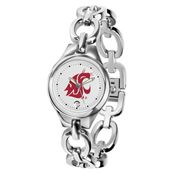 Women's Dress Watch- Women's silver links-style bracelet watch. White face with crimson cougar head logo. A clean and classy way to show your pride!