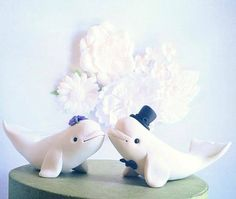 Beluga Whale Wedding Cake Topper handmade by theaircastle on Etsy