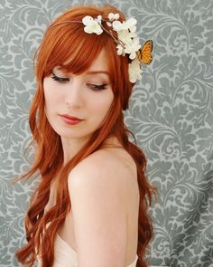 Butterfly floral crown white flower headband by gardensofwhimsy, $40.00