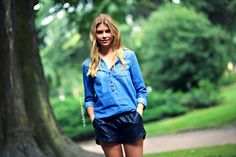 chambray + shorts. #MerrittHunt #offduty in Milan.