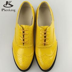 Patent leather big woman US size 11 designer vintage flat shoes round toe handmade yellow 2017 sping oxford shoes for women fur