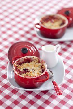 Recept voor aardbeien-frambozencrumble