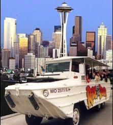 You haven't seen Seattle until you've seen it from a Duck! Travelers and local Seattle-ites of all ages love to Ride the Ducks! Our hilarious, Coast Guard-certified maritime captains will take you on a musical tour of the Emerald City. Amphibious World War II vehicles will show you Seattle from both land and water! You'll see downtown Seattle, Pike Place Market and historic Pioneer Square, then, SPLASH into the water for a party on wheels that floats!  such great fun for kids of all ages.