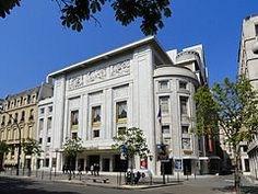 Théâtre des Champs-Élysées, 15 Avenue Montaigne, Paris. Opened in 1913, designed by French architect Auguste Perret, with bas-reliefs by Antoine Bourdelle.