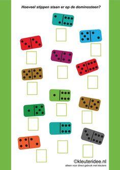 Hoeveel stippen staan er op de dominosteen kleuteridee ,how many dots are there on the domino, free printable. Kids Learning Alphabet, Preschool Learning Activities, Preschool Printables, English Worksheets For Kids, Kids Math Worksheets, Math Resources, Teaching Numbers, Math Numbers, Teaching Math
