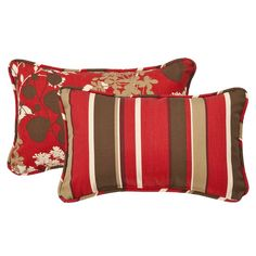 This set of two outdoor toss pillows are a perfect piece for updating outdoor furnishings. These pillows feature a red and brown reversible stripe cover. This pillow is weather resistant and UV protected, perfect for remaining outdoors.