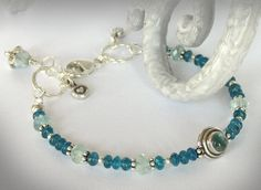 Stackable Bracelet in Apatite Aquamarine by jQjewelrydesigns,