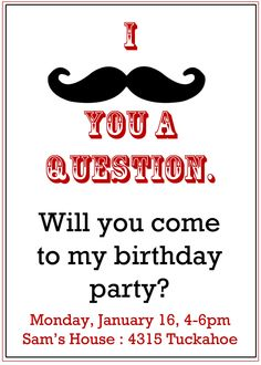 Mustache Party invitation- Boy's Birthday Invitation- Digial File, print yourself or printed invitations Moustache Party, Mustache Birthday, Birthday Fun, First Birthday Parties, Birthday Ideas, Theme Parties, Mustache Theme, 14th Birthday, Birthday Stuff