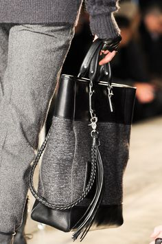 Love the material, the cord, the tassel. John Varvatos Fall/Winter Men's Bag Collection 2013