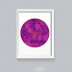 Mandala Print, Mandala Art,  Yoga Print, Meditation Print, Watercolor Mandala, Purple wall decor, Bedroom wall art, yoga studio decoration