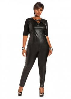 171e6604b58 Ashley Stewart Women s Plus Size Ponte and Faux Leather Jumpsuit