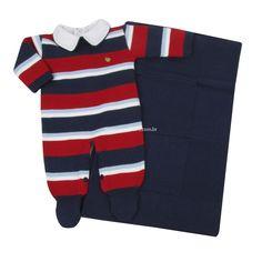 Saída de Maternidade Macacão Listrado Quadros - Marinho - Petit Mouton Baby Kids, Baby Boy, Knitting Gauge, Kids Coats, Happy Baby, Striped Tee, Tulum, Kids Outfits, Children