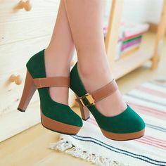 Paneled Retro High Heels