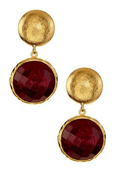 Faceted Ruby Drop Earrings