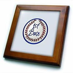 """1st Base - 8x8 Framed Tile by TNMGraphics. $22.99. Keyhole in the back of frame allows for easy hanging.. Inset high gloss 6"""" x 6"""" ceramic tile.. Dimensions: 8"""" H x 8"""" W x 1/2"""" D. Solid wood frame. Cherry Finish. 1st Base Framed Tile is 8"""" x 8"""" with a 6"""" x 6"""" high gloss inset ceramic tile, surrounded by a solid wood frame with predrilled keyhole for easy wall mounting."""