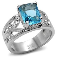 Stainless Steel Antique Inspired Radiant Cut Aquamarine CZ Ring Size 9 Finish: High polish (no plating) Stone: Cubic Zirconia Size of Stone: x Weight: Approx. Fashion Rings, Fashion Jewelry, Stylish Jewelry, Women Jewelry, Aquamarine Crystal, Aquamarine Rings, Steel Jewelry, Stainless Steel Rings, Vintage Rings
