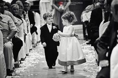 Ring bearer & flower girl making their way down the aisle in the Grand Ballroom / Mendenhall Inn Wedding